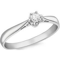 Love GOLD 18ct White Gold 10pt Diamond Solitaire Ring, White Gold, Size N, Women