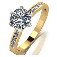 Moissanite 18ct Gold 1/2ct eq Total Round Brilliant Moissanite Solitaire Ring, White Gold, Size K, Women