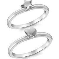 The Love Silver Collection Sterling Silver Set of 2 Heart and Star Rings, Silver, Size H, Women
