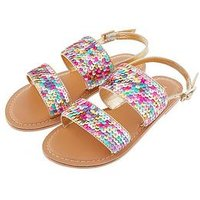 Monsoon Sandy Sequin Sandal, Multi, Size 11 Younger