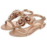Monsoon Ellie Corsage Sandal, Rose Gold, Size 2 Older