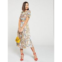 Skeena S Printed Plisse Vogue Midi Dress - Multi