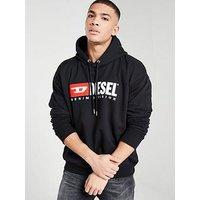 DIESEL Logo Overhead Hoodie - Black, Black, Size Xl, Men
