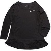 Nike Girl Dri-Fit Peplum Tunic LS Top, Black, Size 5-6 Years, Women