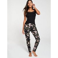 V by Very Mix & Match Floral Printed Trouser, Black Floral, Size 16-18, Women