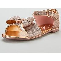 Baker by Ted Baker Toddler Girls Glitter Bow Sandal, Gold, Size 6 Younger