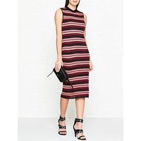 Mcq Alexander Mcqueen Metallic Stripe Pencil Dress - Pink/Red