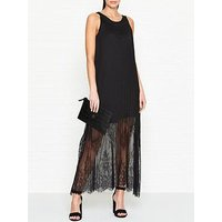 Mcq Alexander Mcqueen Fluid Pleated Lace Maxi Dress - Black