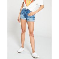 Wrangler Wranglers Denim Boyfriend Shorts, Motel Blue, Size L, Women