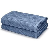 Product photograph showing Catherine Lansfield Linear Diamond Towel Range - Blue - Bath Sheet