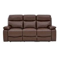 Product photograph showing Hasting Real Leather Faux Leather 3 Seater Manual Recliner Sofa