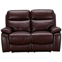Product photograph showing Hasting Real Leather Faux Leather 2 Seater Manual Recliner Sofa