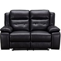 Product photograph showing Martelle Real Leather Faux Leather 2 Seater Manual Recliner Sofa