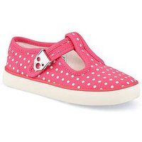 Start-rite Jitterbug Polka Dot Canvas Plimsoll, Pink/White, Size 7.5 Younger