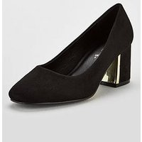 V By Very Darwin Wide Fit Mid Heel Court Shoes - Black