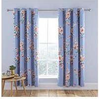 Product photograph showing Catherine Lansfield Catherine Lansfield Canterbury Blackout Eyelet Curtains - Blue