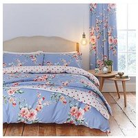 Product photograph showing Catherine Lansfield Canterbury Duvet Cover Set - Blue