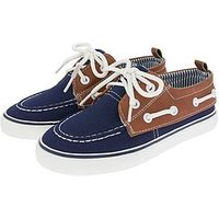 Monsoon Logan Lace Up Boat Shoe, Blue, Size 11 Younger