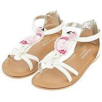 Monsoon Freya Flamingo Strappy Sandal, White, Size 7 Younger