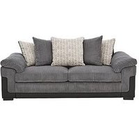 Product photograph showing Reece Fabric And Faux Snakeskin 3 Seater Scatter Back Sofa