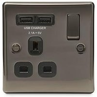 Product photograph showing Nexus Metal Black Nickel Single Switched 13a Power Socket With Usb Charging - 2x Usb Sockets 2 1a
