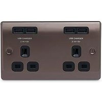 Product photograph showing Nexus Metal Black Nickel Double Unswitched 13a Power Socket With Usb Charging - 4x Usb Sockets 4 2a