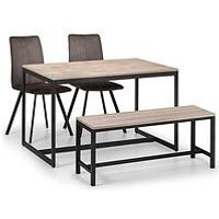 Product photograph showing Julian Bowen Tribeca 120 Cm Dining Table 2 Monroe Chairs Bench