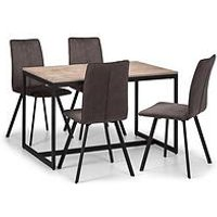 Product photograph showing Julian Bowen Tribeca 120 Cm Dining Table 4 Monroe Chairs
