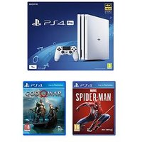 Playstation 4 Pro Pro White Console With Marvel'S Spider-Man And God Of War Plus Optional Extras - + 365 Day Psn Subscription Ca