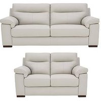 Product photograph showing Spire Real Leather Faux Leather 3 Seater 2 Seater Sofa Set Buy And Save