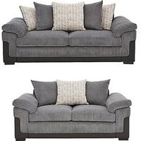 Product photograph showing Reece Fabric And Faux Snakeskin 3 Seater 2 Seater Scatter Back Sofa Set Buy And Save