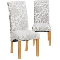 Product photograph showing Pair Of Oxford Fabric Dining Chairs- Silver