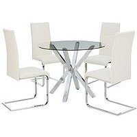 Chopstick 100 Cm Round Glass Dining Table + 4 Chairs