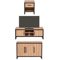 Product photograph showing Boston 3 Piece Package - Tv Unit Sideboard And Lamp Table