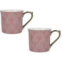Product photograph showing V A Scallop Shells Pink Palace Mugs Ndash Set Of 2