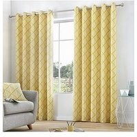 Product photograph showing Fusion Brooklyn Lined Eyelet Curtains