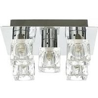 Product photograph showing 5-light Ice Cube Square Flush Ceiling Light