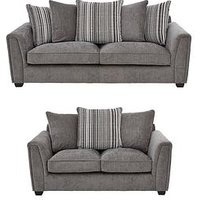 Product photograph showing Ezra 3 Seater 2 Seater Scatter Back Fabric Sofa Set