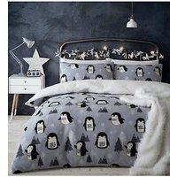 Product photograph showing Catherine Lansfield Cosy Penguin Fleece Christmas Duvet Cover Set