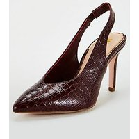 V By Very Daffodil Wide Fit V-Cut Point Slingback Court Shoes - Burgundy
