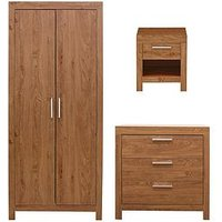 Product photograph showing Cuba 3 Piece Package - 2 Door Wardrobe 3 Drawer Chest And 1 Drawer Bedside Chest