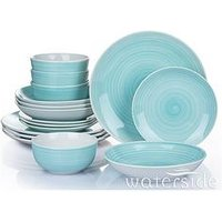 Product photograph showing Waterside Aqua Splash Spin Wash 16-piece Dinner Set