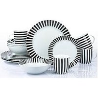 Product photograph showing Waterside Black Stripe 16-piece Dinner Set