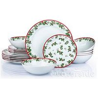 Product photograph showing Waterside Holly 18-piece Dinner Set
