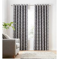 Product photograph showing Catherine Lansfield Lattice Eyelet Curtains