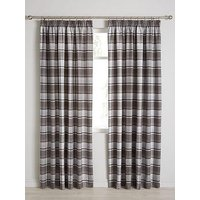 Product photograph showing Shetland Check Faux Wool Pleated Curtains