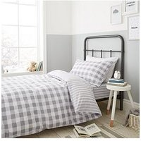Product photograph showing Bianca Cottonsoft Bianca Grey Check Duvet Cover Set