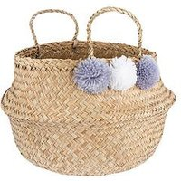 Product photograph showing Sass Belle Grey Pom Pom Storage Basket