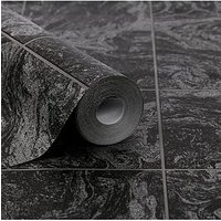 Product photograph showing Contour Glitter Marble Tile Black Wallpaper