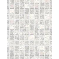Product photograph showing Contour Earthen Mid Grey Tile Wallpaper